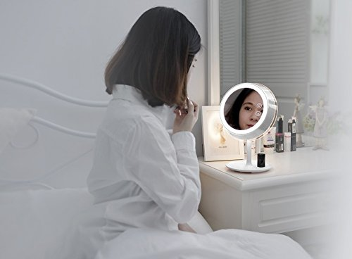 3en 1lámpara de noche LED con espejo maquillaje 3,5W luz natural dulce 3niveles de luminosidad ajustable táctil, control táctil, luz Dimmable espejo HD 90° Rotación ajustable, USB recargable