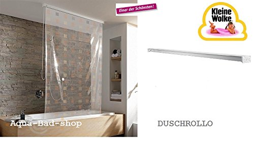 Kleine Wolke – Cortina de ducha enrollable 128 cm Diseño 10 – Transparente de alta calidad/Beige de color blanco con cassette vacío de Juego completo: Amazon.es: Bricolaje y herramientas