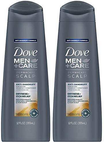 Dove Men + Care Dermacare Scalp - Anti-Dandruff Shampoo + Conditioner 2 in 1 - Dryness + Itch Relief - Net Wt. 12 FL OZ (355 mL) Per Bottle - Pack of 2 Bottles