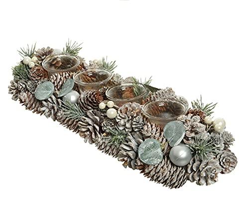 Decoris Corona de Adviento alargada con portavelas de cristal (45 cm), color verde y blanco