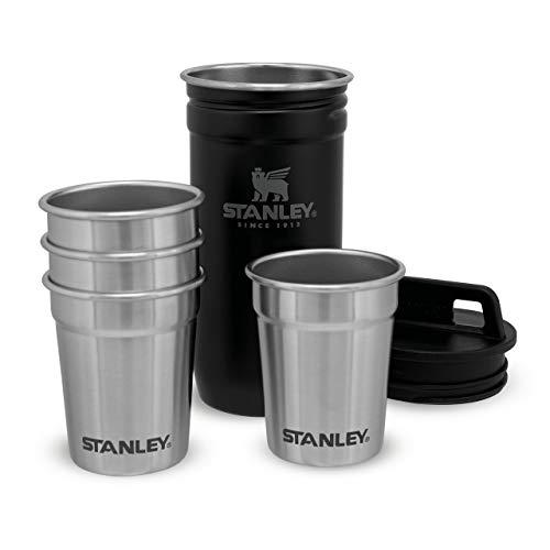 Stanley Adventure Nesting Shot Glass Set Schnapsbecher aus Edelstahl, | BPA-frei | Stapelbar und platzsparend zu verstauen |Spülmaschinenfest | Lifetime Warranty, Matte Black, 59 ml