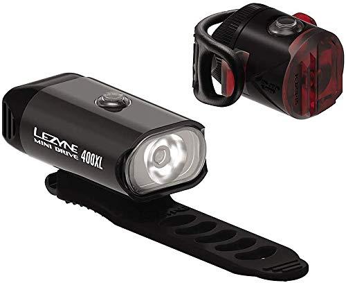 LEZYNE Mini Drive 400XL & Femto USB Drive, Compact Bicycle Lights Combo Pair, 400 Lumens, 20H Runtime, USB Rechargeable, Bike Light Set
