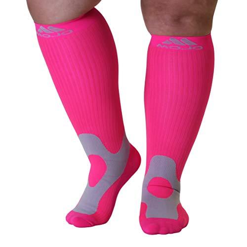 4XL Mojo Compression Socks 20-30mmHg Wide Calf Compression Stockings Pink