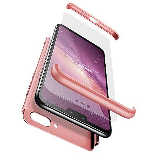 cmdkd Funda Compatible con Xiaomi Mi 8 Lite,Case Bumper 3 en 1 Estructura 360 Grados Integral para Ambas Caras Hard Skin Carcasa + Cristal Templado.Rose Oro