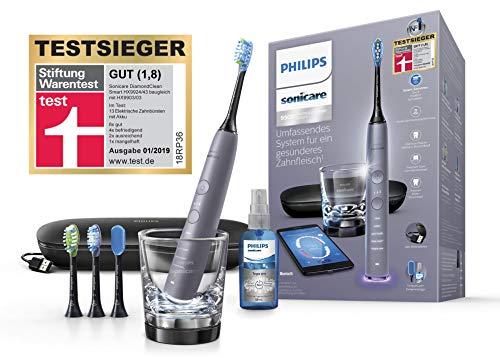 Philips Sonicare DiamondClean Smart Schallzahnbürste HX9924/43 mit 5 Putzprogrammen, 3 Intensitäten, Ladeglas, USB-Reiseetui & 4 Bürstenköpfen - schonendes Putzen dank Drucksensor – Kaschmir-grau