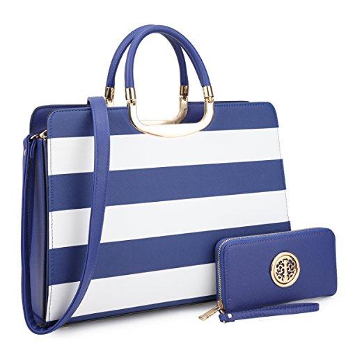Women's Fashion Handbag Shoulder Bag Hinged Top Handle Tote Satchel Purse Work Bag with Matching Wallet (2-saffiano Blue Stripe Wallet Set)