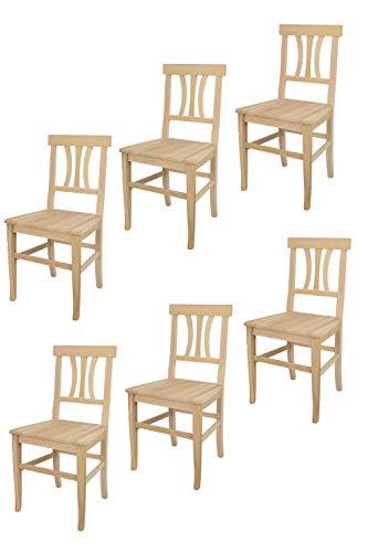 t m c s Tommychairs - Set 6 sillas Artemisia para Cocina y Comedor, Estructura en Madera de Haya lijada, no tratada, 100% Natural y Asiento en Madera