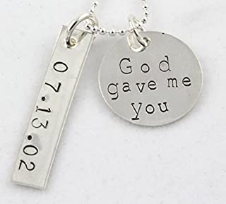 God Gave Me You Personalized Necklace - Custom Special Date Gift for Mom