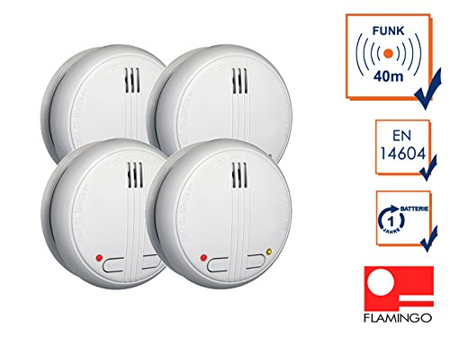 4er Set koppelbarer Funk Rauchmelder, 85dB, Testtaste, inkl. Batterie, FA21RF-4
