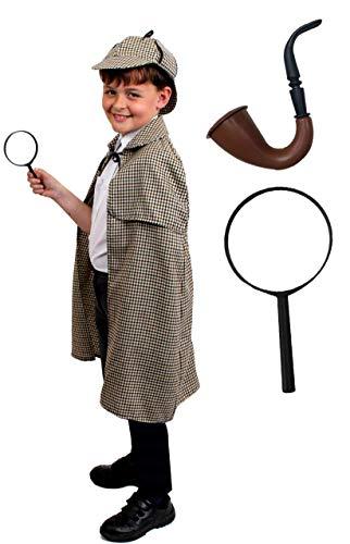I LOVE FANCY DRESS LTD Sherlock Holmes Deluxe KOSTÜM Set MIT Hut - PERFEKT FÜR BUCHWOCHE ODER Halloween KOSTÜME (Hut + UMHANG + GEFÄLSCHTE Pfeife + VERGRÖẞERUNGSGLAS - X-GROẞ)