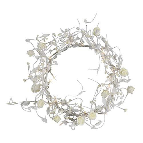 Best Season Rosenkranz Rose mit 24 Micro-Bulbs circa 21 x 21 cm, weiß klare Birnen mit Trafo 581-13