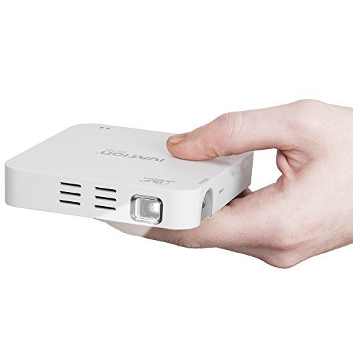 Ivation Portable Rechargeable HDMI Projector for Movies, Presentations, Photo Sharing & More - Includes Tripod & Carrying Case - Compatible with most Smartphones, Tablets & Laptops - White by Ivation