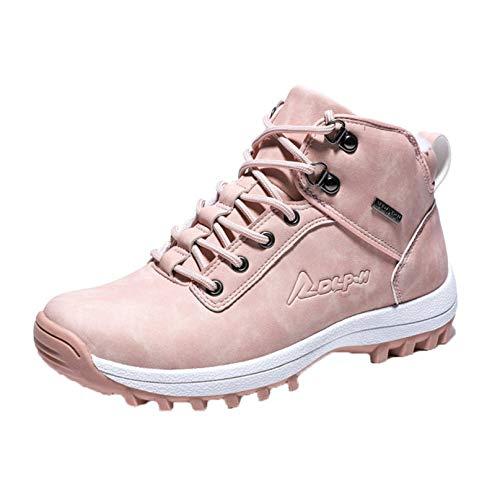 Invierno Unisex Botas Altas de Senderismo Antideslizantes al Aire Libre cálidas Zapatillas de Deporte con Cordones de Felpa Zapatos de Herramientas para Caminar Hombres Mujeres Botas