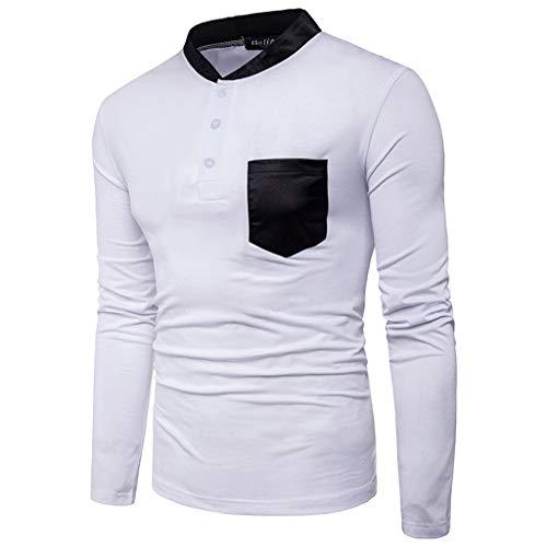 ZODOF camisa hombre camisas sport Casual Comodo Pure Color estampadas manga larga Shirts Tops Slim Fit Camisas Blusa Tops Moda para hombre camisa(L,Blanco)