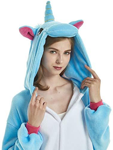 YULOONG Erwachsene Einhorn Onesies Pyjamas Halloween Weihnachtsfeier Cosplay Kostüm für Frauen Mann