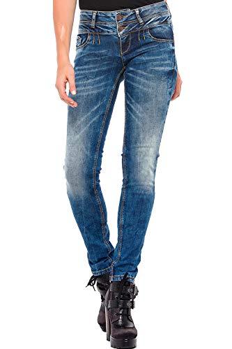 Cipo & Baxx Damen Jeans Hose Doppelbund Slim Fit Used Look Denim Jeanshose Pants Design Blau W30 L32
