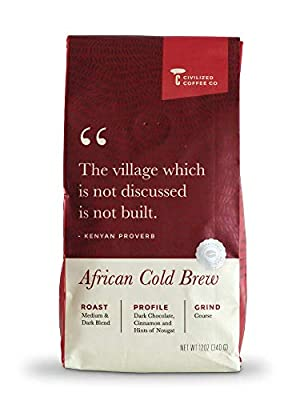 Civilized Coffee Cold Brew Coffee Coarse Ground, African Blend, Medium Dark Roast Arabica Coffee Beans (12oz)