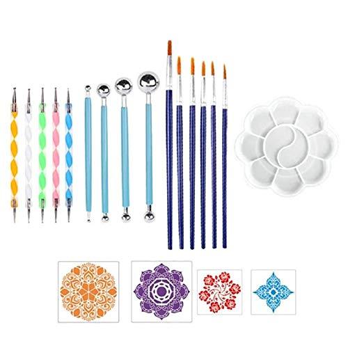 AEROBATICS 20 STÜCKE Mandala-Dotting-Werkzeugen Schablone Mandala Rock Punktierung Werkzeuge Rock Malerei Werkzeuge Dotting Tools für Mandala-Steinmalerei, Malen und Zeichnen