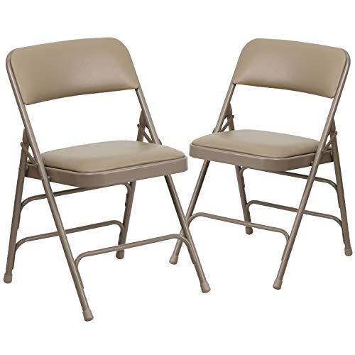Flash Furniture 2 Pk. HERCULES Series Curved Triple Braced & Double Hinged Beige Vinyl Metal Folding Chair