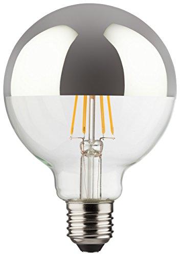Müller-Licht 400216a + +, lampadina a LED Mini Globe sostituisce 60W, vetro retrò, 8W, E27, Argento, 9,5x 9,5x 13,5cm