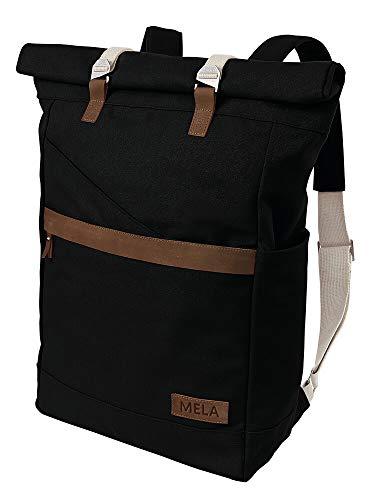 MELAWEAR Ansvar I Rucksack Roll Top aus Bio Baumwoll Canvas - Hochwertiger Damen & Herren Vintage Tagesrucksack aus 100% nachhaltigen Materialien - GOTS & Fairtrade, Farbe:schwarz