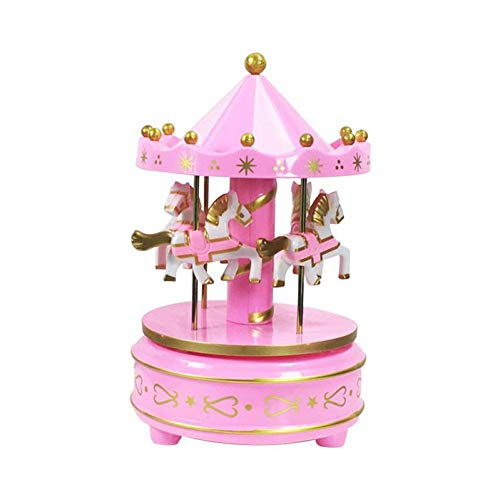 TZSHUQ Carousel Muziek Box Cake Decoratie Ornamenten Swivel Hand Cranked carrousel Paard Klok Muziekdoos Hoge Kwaliteit Luxe Speelgoed roze