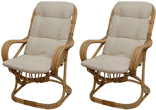 2er Set Bequemer Wippstuhl Retro-Stil aus Rattan-Naturrohr 50er Jahre Wippsessel Wipper Relax-Sessel mit Polster Hochlehner Natur