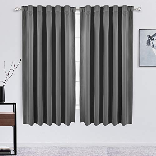 FLOWEROOM Grey Blackout Curtains for Bedroom - Thermal Insulated Back Tab and Rod Pocket Curtains,Darkening Window Treatment Draperies, 2 Panels, W52 x L63 inch(132x160cm)