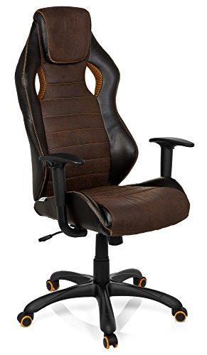 HJH OFFICE 621880-P Gaming-pc-stoel VINTAGE IV kunstleer, bruin, comfortabele bekleding, ideaal om te gamen, managerstoel, vaste armleuningen, bureaustoel, racer 120 kg, XXL managersstoel, racer bruin