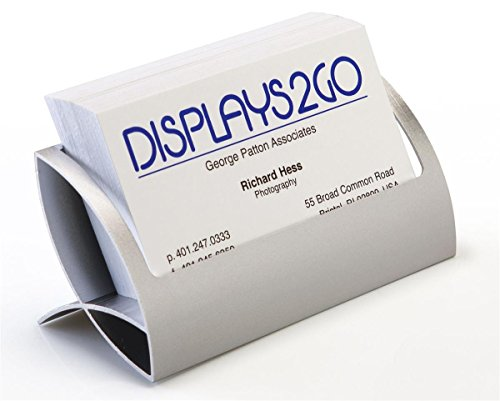 Set of 4, Desktop Business Card Holders with Unique Curved Design - Silver, Aluminum