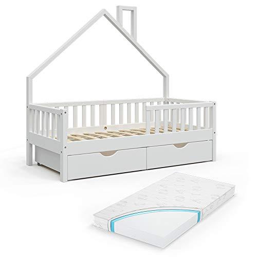 VitaliSpa Hausbett Kinderbett Spielbett Noemi 80x160cm Rausfallschutz (Weiß, Schubladen & Matratze)