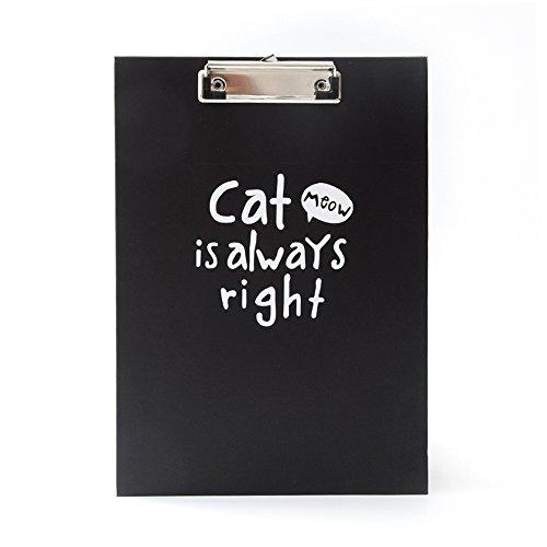 vevice Cute Papier Datei Schreiben Zwischenablage Ordner Hard Clip Board Pad Konferenz Kompakte Dokument Halterung für Office (schwarz Katze)
