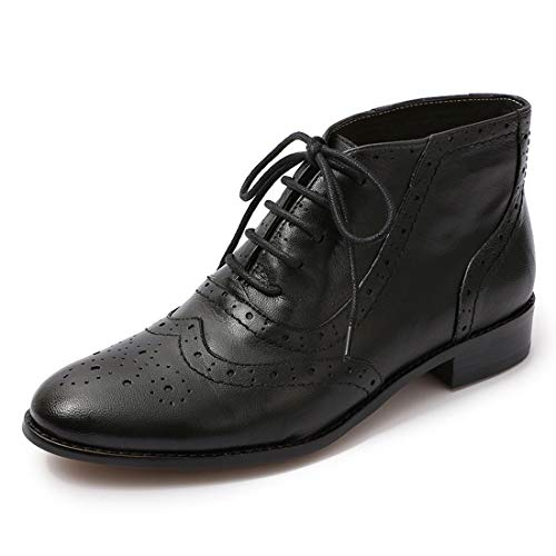 Mona flying Women Leather Lace Up Ankle Bootie Round Toe Boots Perforated Brogue Shoes