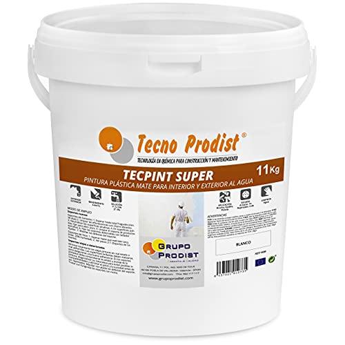 TECPINT SÚPER de Tecno Prodist - 11 Kg (BLANCO) Pintura para Exterior e Interior al Agua - Gran cubrición y blancura - Lavable - Fácil Aplicación