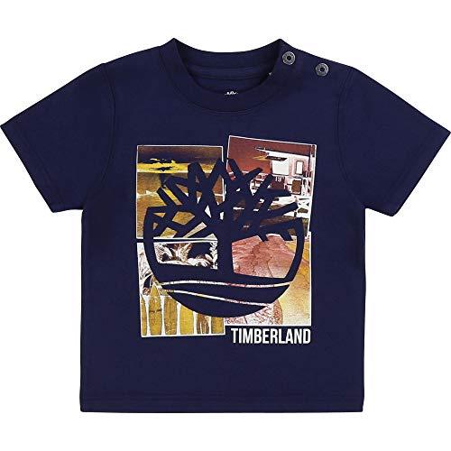 Timberland T-Shirt en Coton Bio à imprimé Layette Indigo Blue 9MOIS