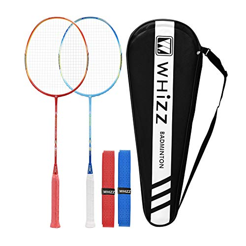 QICHUAN Whizz Heavy Duty Graphite Badminton Racket, Full Carbon Fiber Professional Racquet Set for Adults, w/ Badminton Bag & 2 Racquet Grip (Sword Red+Blue)