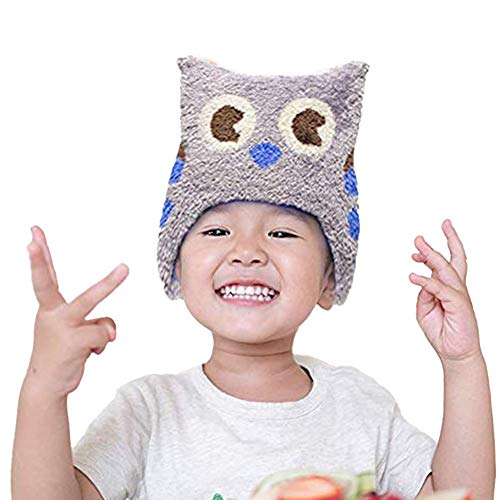 Winter Hat for Toddlers - Stretchable Snowy Owl Kids' Winter Hat - Unisex Toddler Beanies for Boys and Girls by Flipside Pillow - Grey Blue