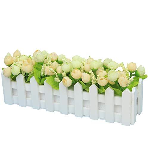 Flikool Artificielle Topiaire Pot Plantes Potted Plant Faux Artificiel Fleur Roses Truque Bonsai l'herbe Verte avec Cloture Decoration Ornements Maison Mariage Terrasse Jardin Deco - Vert