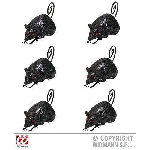 6 Souris / Rats noir scintillant env. 12 cm / Décoration de halloween / Décoration de table / Salle de séjour déco