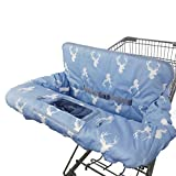ICOPUCA Shopping Cart Cover for Baby boy Girl, Non-Slip Design Cart Covers for Babies, Infant Cotton High Chair Cover, Machine Washable, Toddler Grocery Cover Large (Navy Deer)