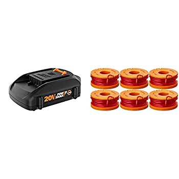 WORX WA3575 20V PowerShare 2.0 Ah Replacement Battery & WA0010 6-Pack Replacement Trimmer Line for Select Electric String Trimmers