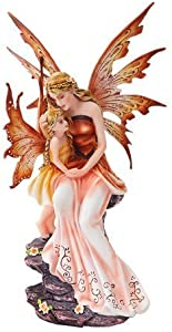 PTC 8.75 Inch Mother and Baby Orange Winged Fairy Statue Figurine