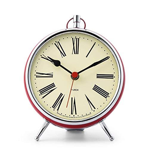 O&YQ Comptoir Horloge de Table Métal Muet Salon Chambre à Coucher Chevet Horloge de Table Rétro Il S'Applique à Pour les Familles Bureaux Ectrouge