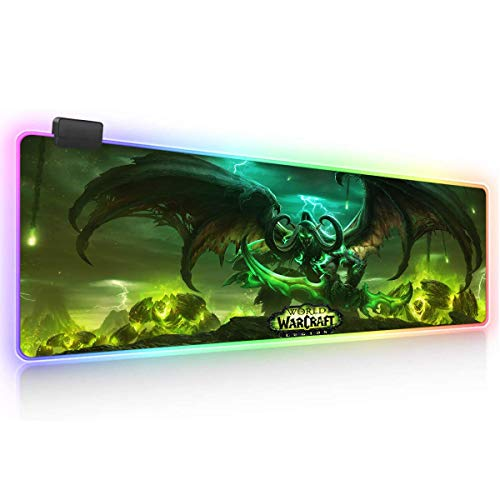 World of Warcraft RGB Soft Gaming Mouse Pad Large Oversized Glowing Led Extended Mousepad Non-Slip Rubber Base Computer Keyboard Pad Mat 14X10in-Big05-31.5X 11.8in