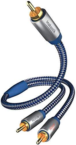 inakustik – 0040802 – Premium Y-Subwooferkabel   Für kraftvollen und dynamischen Bass dank eines hohen Kupfergehaltes   2,0m in Blau/Silber   2-fache Abschirmung - Vollmetallstecker - moderner Geflechtschirm