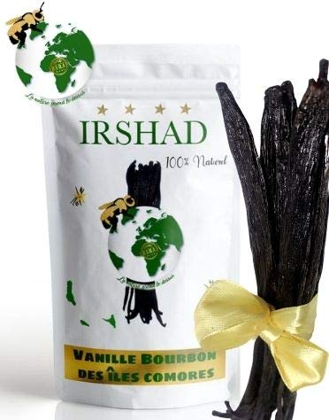 10 gousses de Vanille Bourbon des îles Comores de 14 à 17cm et 5 grammes de poudre non-épuisée offerte, Qualité Gourmet.