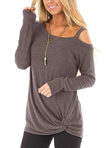 Yidarton Women's Cold Shoulder Tops Long Sleeve Side Twist Knotted Blouse Tunic T Shirts(COY-cf,XL)