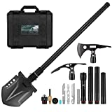 Survival Shovel Multitool with Axe, Portable Folding Camping Tactical Shovel Hatchet Flashlight Combo, Multifunctional Survival Tools kit, Survival Gear and Equipment for Camping Hiking