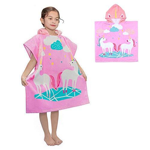 Kapuzenbadetücher Badeponcho Kinder 100% Baumwolle Kapuzenponchos Handtuch mit Kapuzen Kapuzenhandtücher Strandtuch Badetuch Bademantel Schwimmen Weich Warm Motiv für Mädchen Jungs (Großes Einhorn)