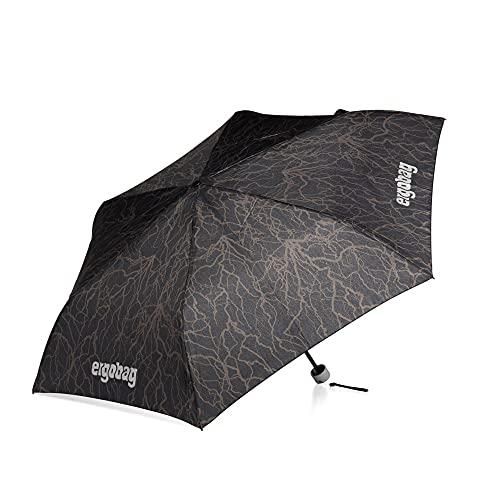 ergobag Regenschirm - Schultaschenschirm für Kinder, extra leicht mit Tasche, Ø90cm - Super ReflektBär - Schwarz
